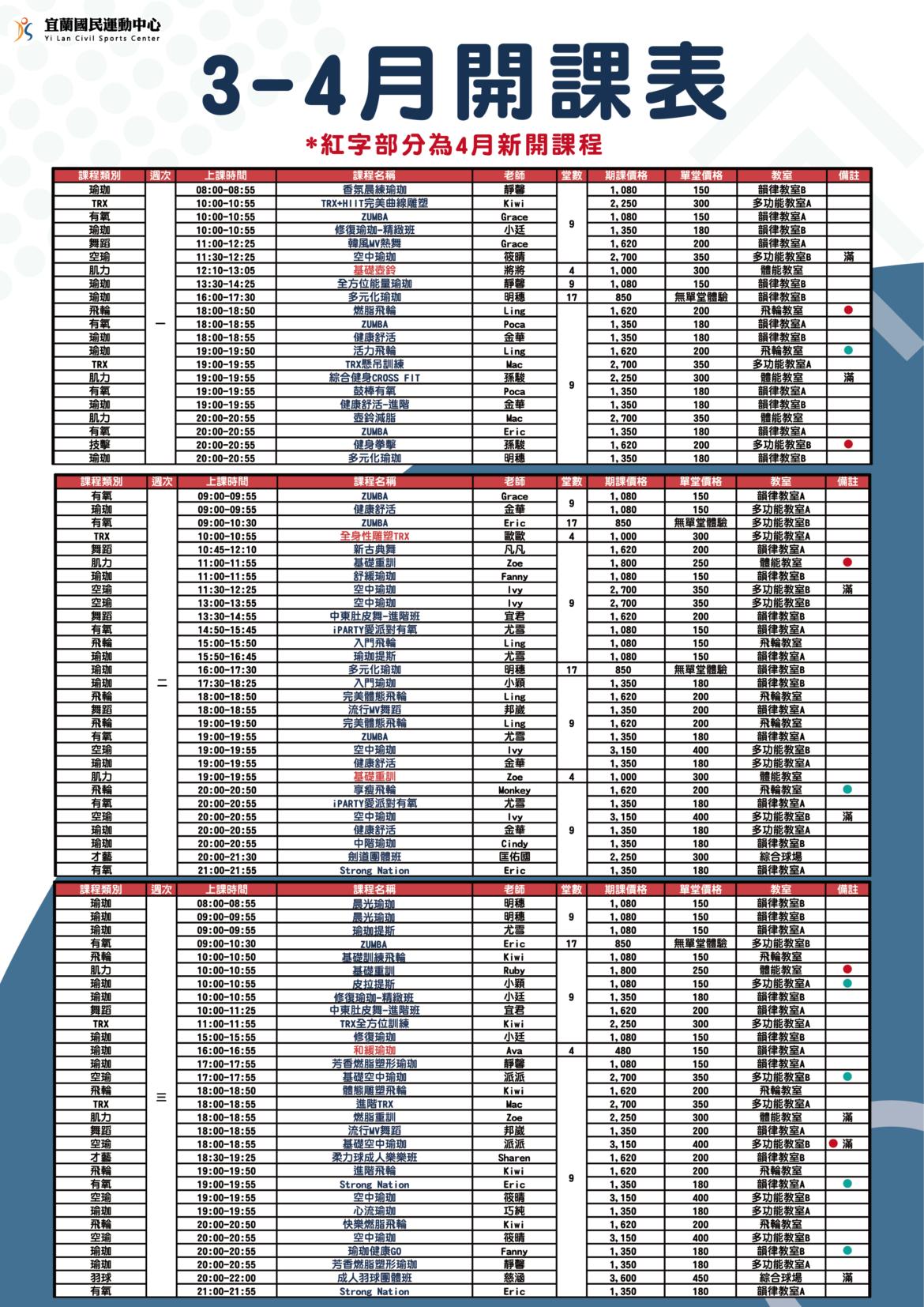【3-4月開課課表資訊更新】